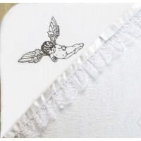 Крыжма c кружевом и лентой Летящий ангел серебро, PUSHA